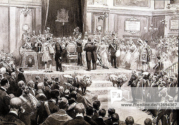 Oath of the Constitution in the Courts in 1902 by King Alfonso XIII of Spain (1886-1941) with his?