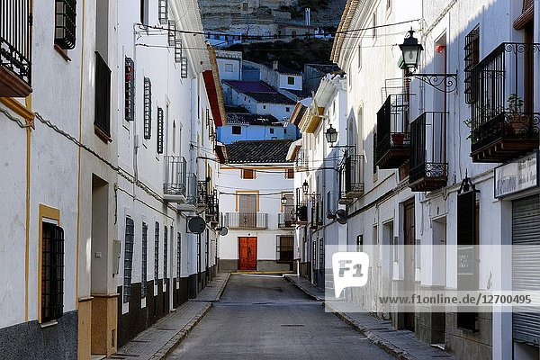 Street scene  historic part of Galera near Baza  municipality Huéscar  province of Granada  Andalusia  Spain  Europe
