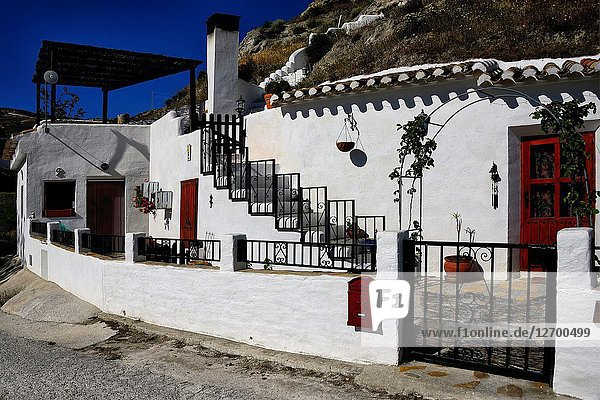 Traditional cavehouses in the city of Galera near Baza  unspoilt cave country in mountainous region of northern Andalusia  between the Sierra Nevada and the Sierra de Castril  Altiplano region of Granada  Granada High Plains  Galera  municipality Huéscar  province of Granada  Andalusia  Spain  Europe