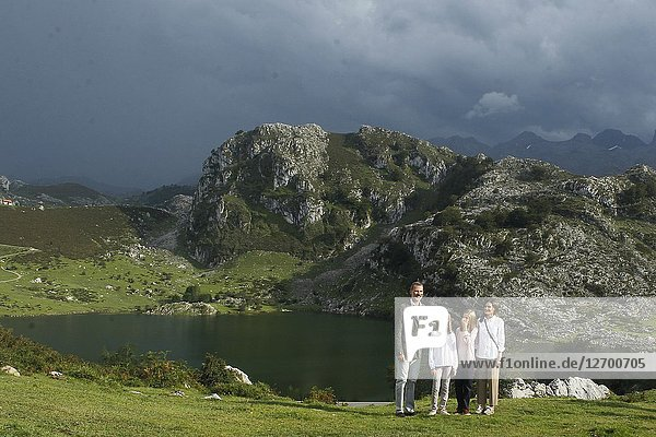 King Felipe VI of Spain  Queen Letizia of Spain  Crown Princess Leonor  Princess Sofia attend the Centenary of the creation of the National Park of Covadonga's Mountain and opening a Princess of Asturias viewpoint at Lagos de Covadonga on September 8  2018 in Cangas de Onis   Spain