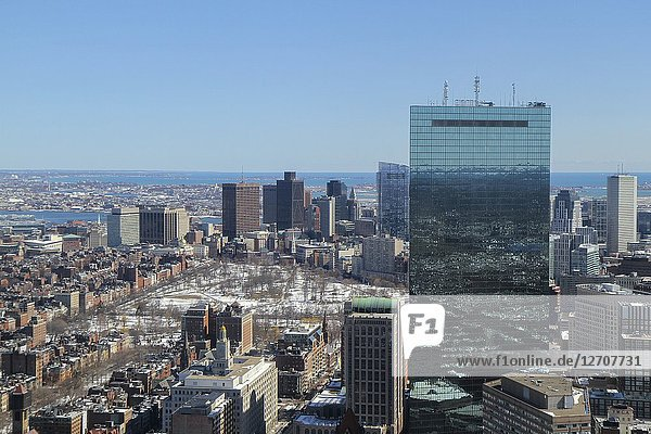 An aerial view of 200 Clarendon Street (formerly the John Hancock Tower) and other buildings in Boston  Massachusetts  United States.