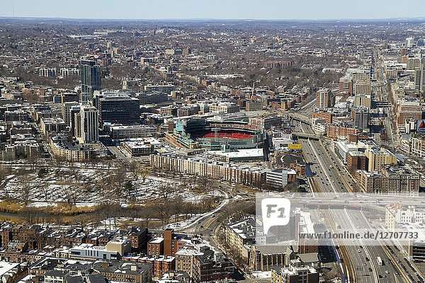 An aerial view towards Fenway Park  Boston  Massachusetts  United States.