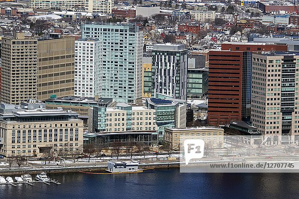 Buildings on the Charles River  Cambridge  Massachusetts  United States.