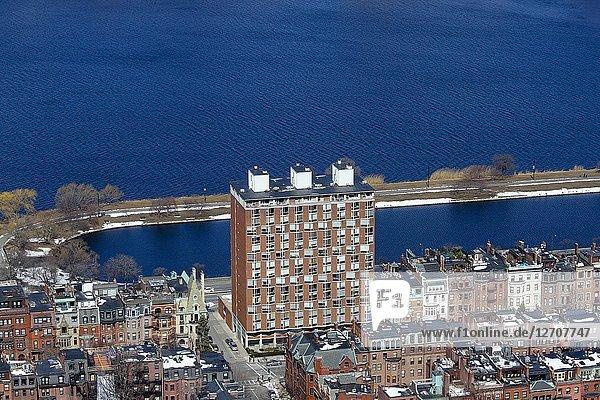 Back Bay neighborhood and the Charles River  Boston  Massachusetts  United States.