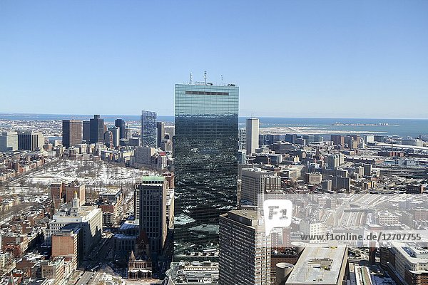200 Clarendon Street (formerly the John Hancock Tower) and other buildings  Boston  Massachusetts  United States.