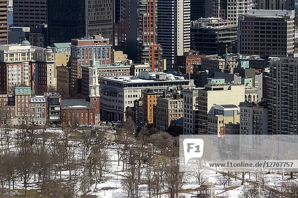 A winter view of a portion of Boston Common and surrounding architecture  Boston  Massachusetts  United States.