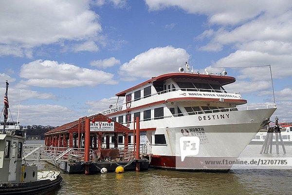 North River Lobster Company boat  Pier 81  Hudson River  New York City.