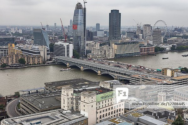 One Blackfriars tower  Blackfriars bridge  Cityscape from the gallery of St Paul's Cathedral  London  England  UK.
