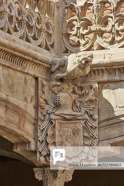 Architectural detail of the La casa de las Conchas  Salamanca City  Province of SalamancaSpain  Europe.