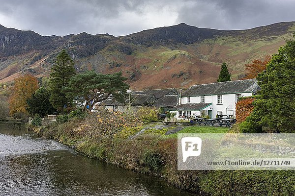 Cottages at Grange overlooking the River Derwent in the Lake District National Park  Cumbria  England.