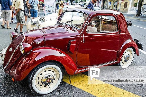 1938/9 Vintage Fiat 500 Topolino car on display in Opatija Croatia.