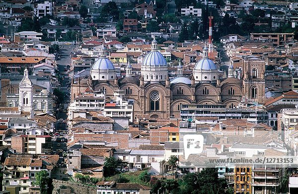 Towers of the Catedral de la Inmaculada and view of the city of Cuenca. Ecuador.