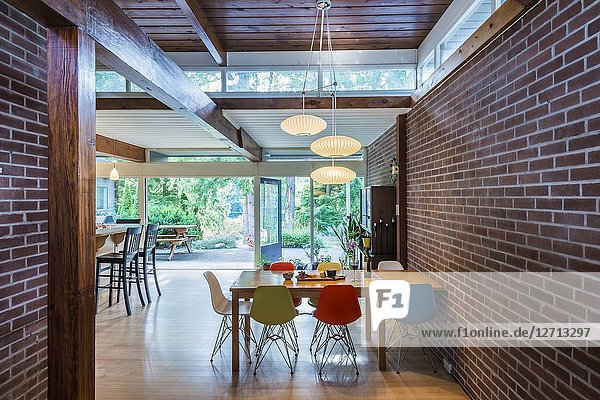 Interior of a west coast modern home  built in 1951  designed by architect Fred Hollingsworth.