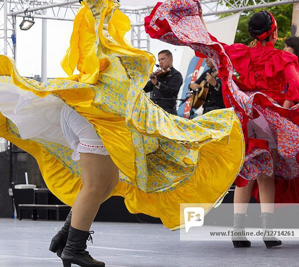Billingham  north east England. United Kingdom. 2018. Dancers from Mexico performing at the Billingham International Folklore Festival of World Dance.