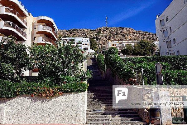 Apartments in Santa Pola - coastal resort near Alicante  Sierra de Santa Pola in background  Mediterranean Sea coast  comarca of Baix Vinalopo  Valencian Community  Alicante  Spain  Europe