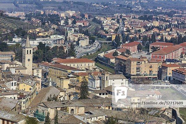 Cityscape of Spoleto  Perugia  Umbria  Italy.