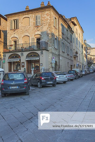 Street in old town  Assisi  Perugia  Umbria  Italy.