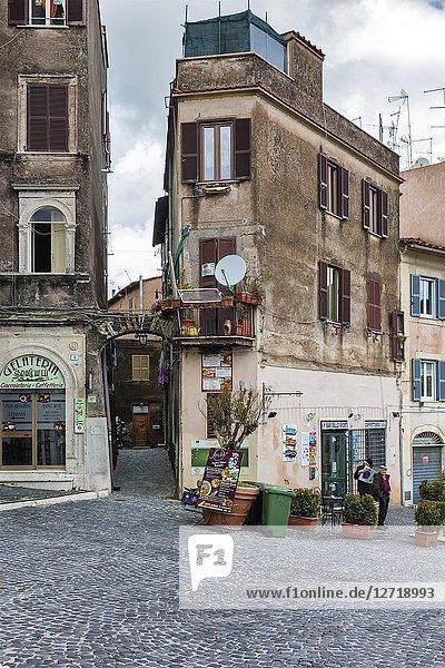Vintage house  street in old town  Tivoli  Lazio  Italy.
