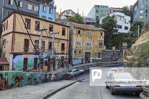 Street in upper town  Valparaiso  Chile.