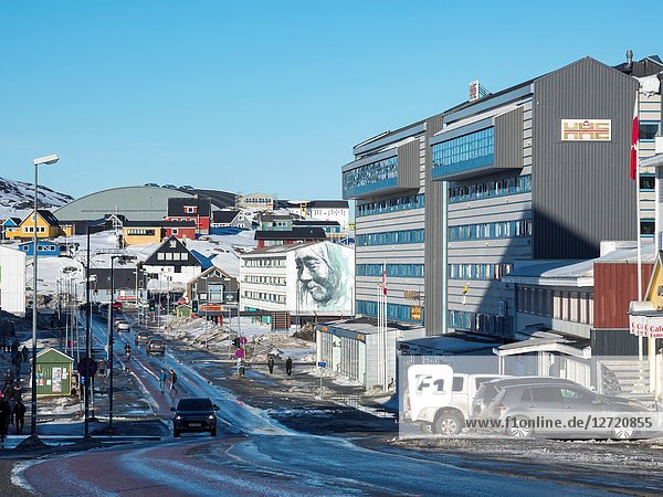 Aqqusinersuaq  the high street in the center of Nuuk. Nuuk  the capital of Greenland. America  North America  Greenland.