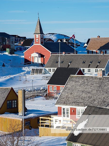 Church of our saviour  the cathedral of Nuuk. The old town of Nuuk  the capital of Greenland. America  North America  Greenland.