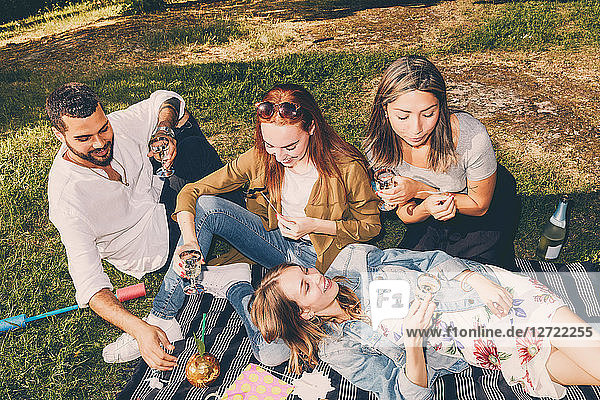 High angle view of happy young multi-ethnic friends enjoying picnic at back yard during summer