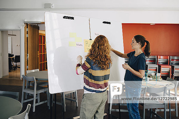 Confident female technicians discussing project over whiteboard at creative office