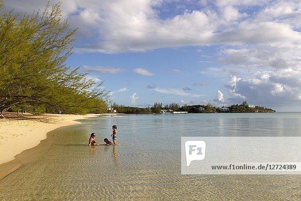 Family in the beach  Ten Bay beach  Eleuthera island  Bahamas.