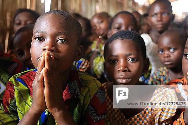 Assembly. Sunday morning mass. Catholic parish of Koroma. Agbonou Koeroma. Togo.
