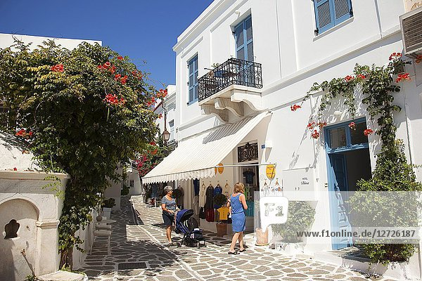 Women in front of the shop in Parikia  Paros Island  Cyclades Islands  Greek Islands  Greece  Europe