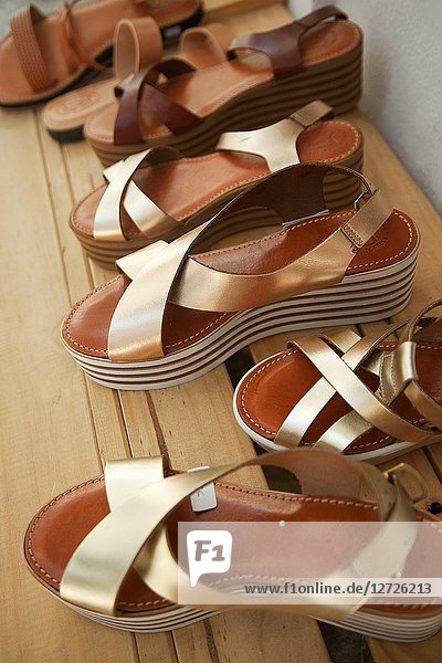 Fancy summer shoes made from leather at the shop in the town center Chora  Naxos Island  Cyclades Islands  Greek Islands  Greece  Europe