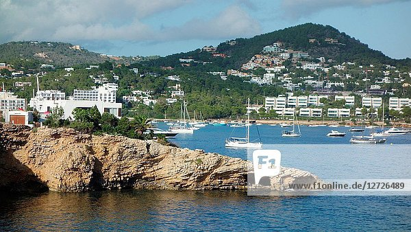 Small bay and beach near the town of Ibiza  the island's capital city  Balearic islands  Spain  Europe.