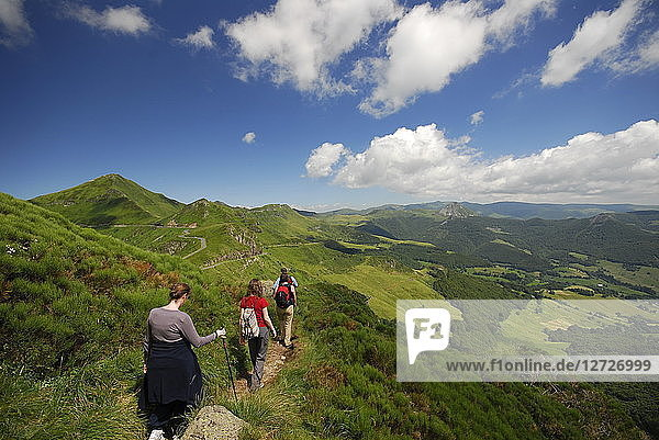 France  South-Western France  hiking in the mountains of the Cantal near the Puy Mary