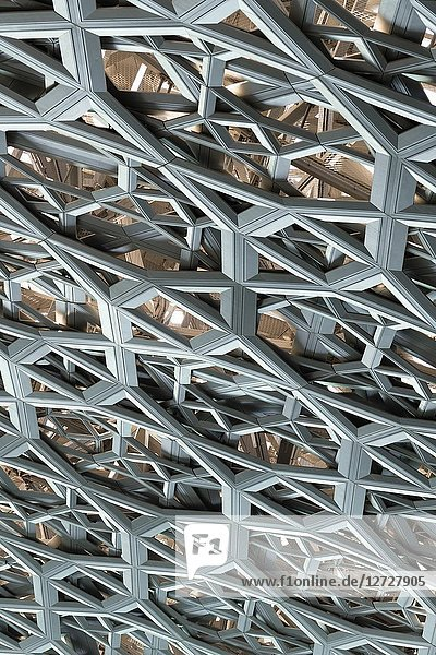 Detail of steel roof dome steelwork pattern of the Louvre Abu Dhabi at Saadiyat Island Cultural District in Abu Dhabi  UAE. Architect Jean Nouvel.