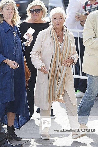Judi Dench is seen arriving at Maria Cristina Hotel during 66th San Sebastian Film Festival on September 25  2018 in San Sebastian  Spain