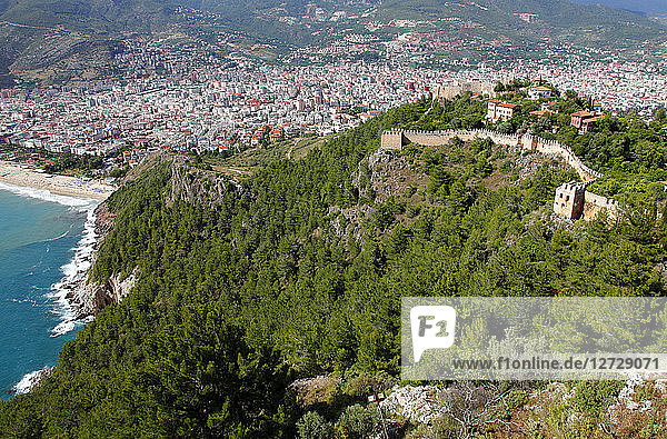 Turkey  province of Antalya  Alanya  ramparts on the cliff and new city