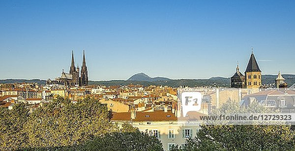 France  Center France  Clermont-Ferrand  Cathedral  Puy de Dome and Church of Notre-Dame du Port