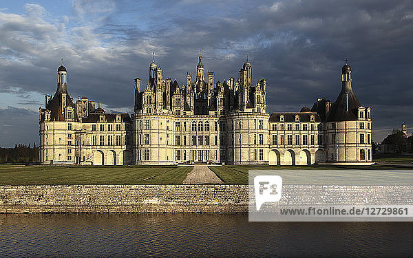 France  Chambord  general view of the northern facade at sunset from the big canal