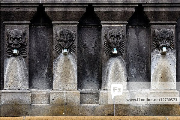 Detail of fountain - La Fontaine Urbain II by sculptor Henri Gourgouillon raised in 1898  Place de la Victoire near Notre Dame de L'Assomption Cathedral - Cathedral of Our Lady of the Assumption of Clermont-Ferrand  historic part of Clermont-Ferrand  Puy-de-Dôme  Auvergne  Auvergne-Rhône-Alpes  France  Europe