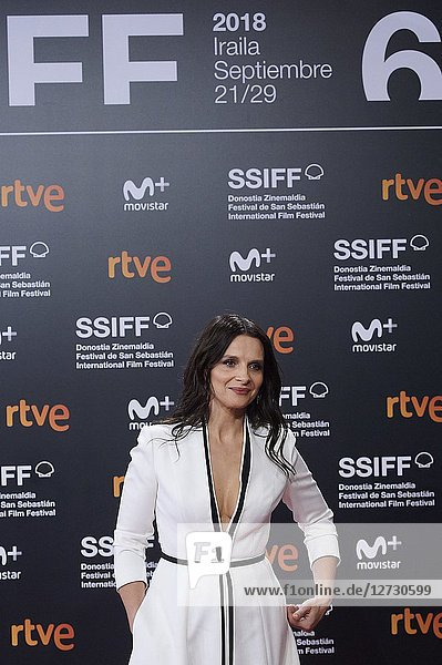 Juliette Binoche attended 'Vision' Premiere during the 66th San Sebastian International Film Festival at Kursaal Palace on September 26  2018 in San Sebastian  Spain