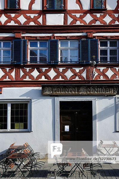 Facade of half-timbered house at Sattlertorstrasse  beer bar at ground level  historic part of Forchheim  Forchheim  Franconian Switzerland  Upper Franconia  Franconia  Bavaria  Germany  Europe