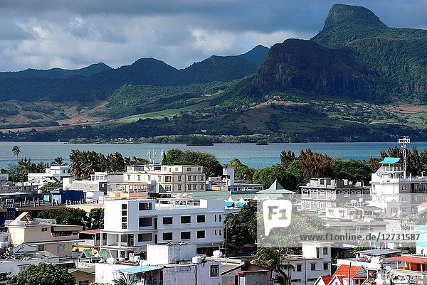 Panoramic view from Mahébourg  in background Lion mountain  Grand Port district  southeastern coast of Mauritius  Mauritius  Mascarenhas  Mascarene Islands  Mascarene  Mascarenhas Archipelago  Africa