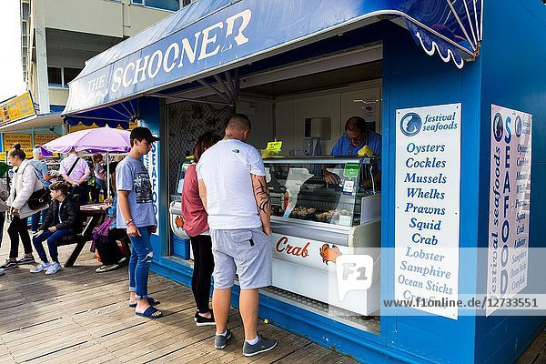 Fresh seafood kiosk on Llandudno pier North Wales UK.