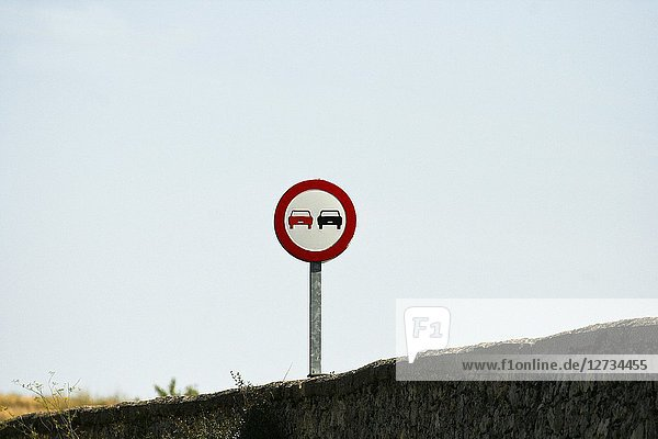 Traffic sign road. Urueñas  Segovia. Spain.