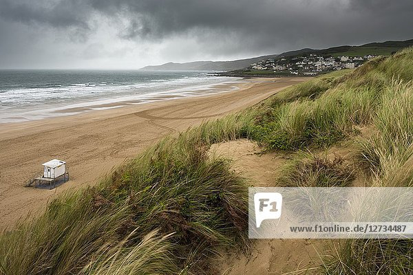The sand dunes overlooking Woolacombe Sand on the North Devon coastline  England.