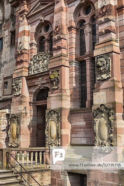 Friedrich building (1607)  Heidelberg Castle  Heidelberger Schloss  Heidelberg  Baden-Wurttemberg  Germany.