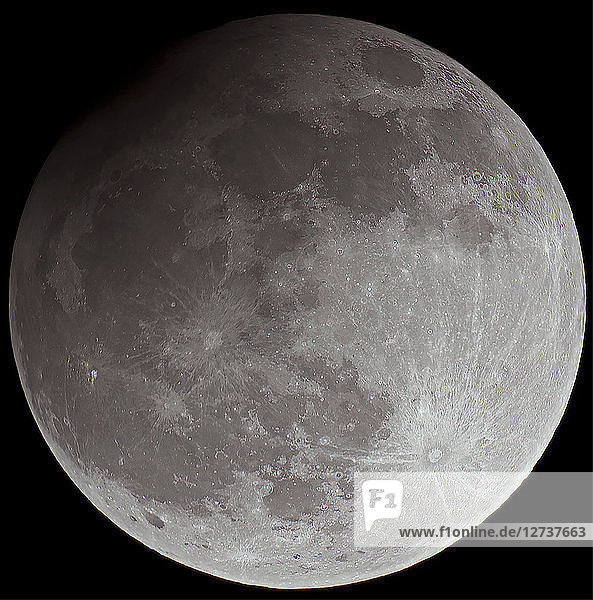 Full moon with partial eclipse