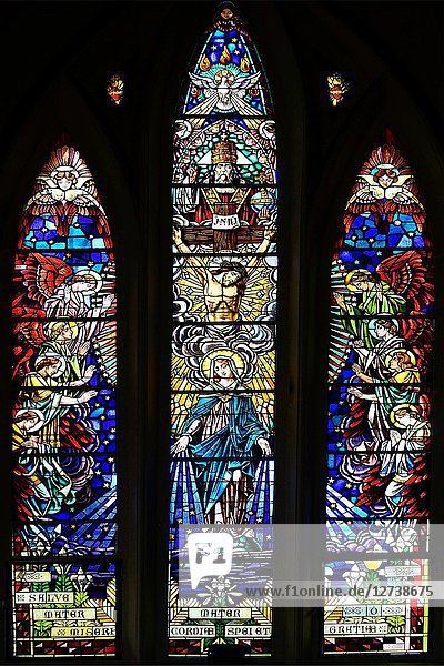 Stained glass  Notre Dame des Anges Church of Mahébourg  Mahébourg  Grand Port district  southeastern coast of Mauritius  Mauritius  Mascarenhas  Mascarene Islands  Mascarene  Mascarenhas Archipelago  Africa