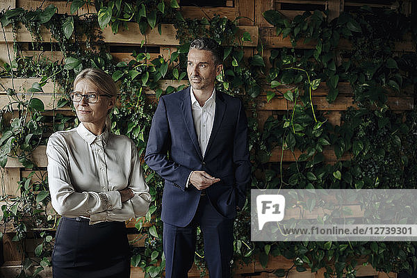 Businessman and businesswoman in green office