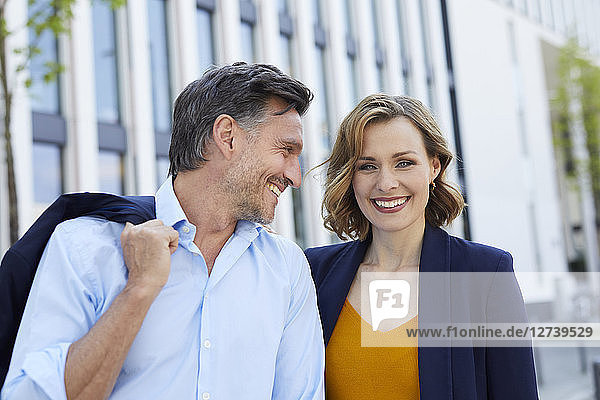 Portrait of laughing business people